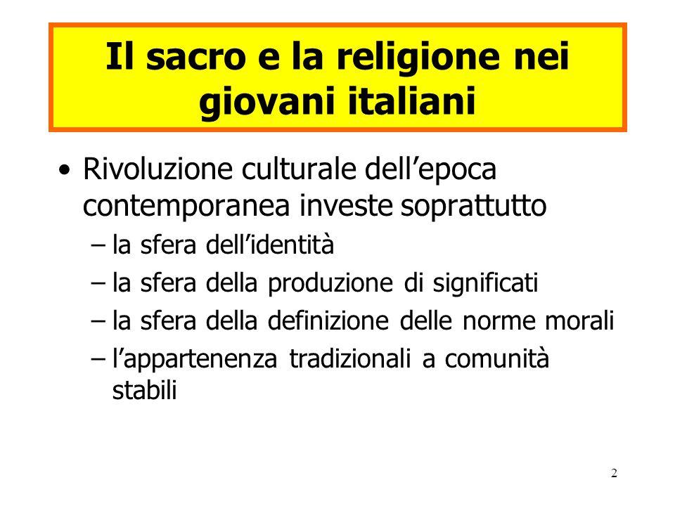 2 Il sacro e la religione nei giovani italiani Rivoluzione culturale dell'epoca contemporanea investe soprattutto –la sfera dell'identità –la sfera della produzione di significati –la sfera della definizione delle norme morali –l'appartenenza tradizionali a comunità stabili
