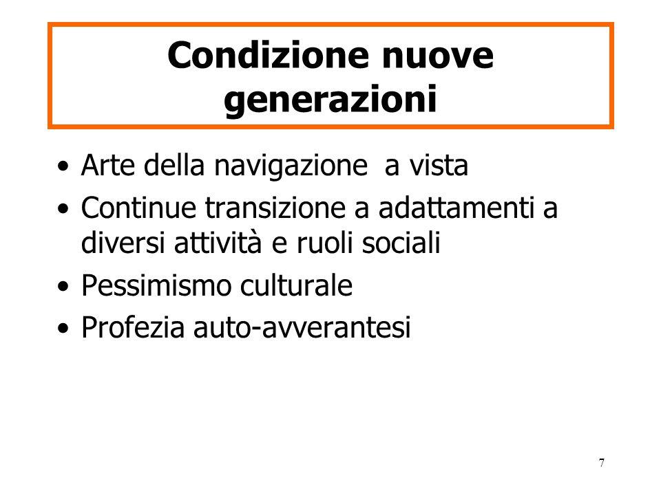 7 Condizione nuove generazioni Arte della navigazione a vista Continue transizione a adattamenti a diversi attività e ruoli sociali Pessimismo culturale Profezia auto-avverantesi