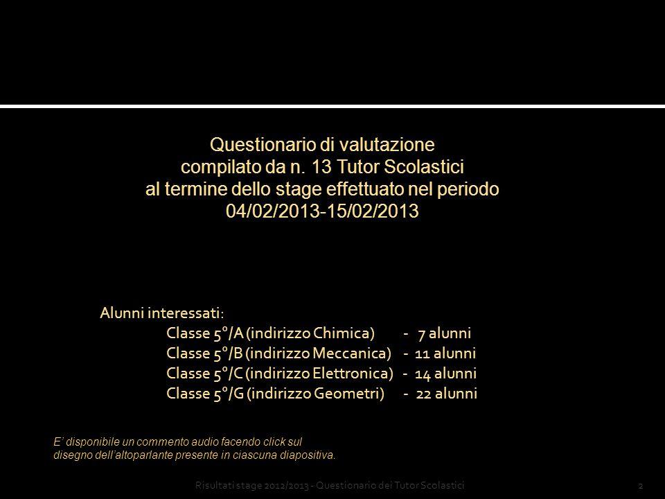 Stage a.s. 2012/2013 Elaborazione dati a cura di Prof. Luigi Marini Istituto di Istruzione Superiore Amedeo Avogadro Abbadia San Salvatore (Siena)