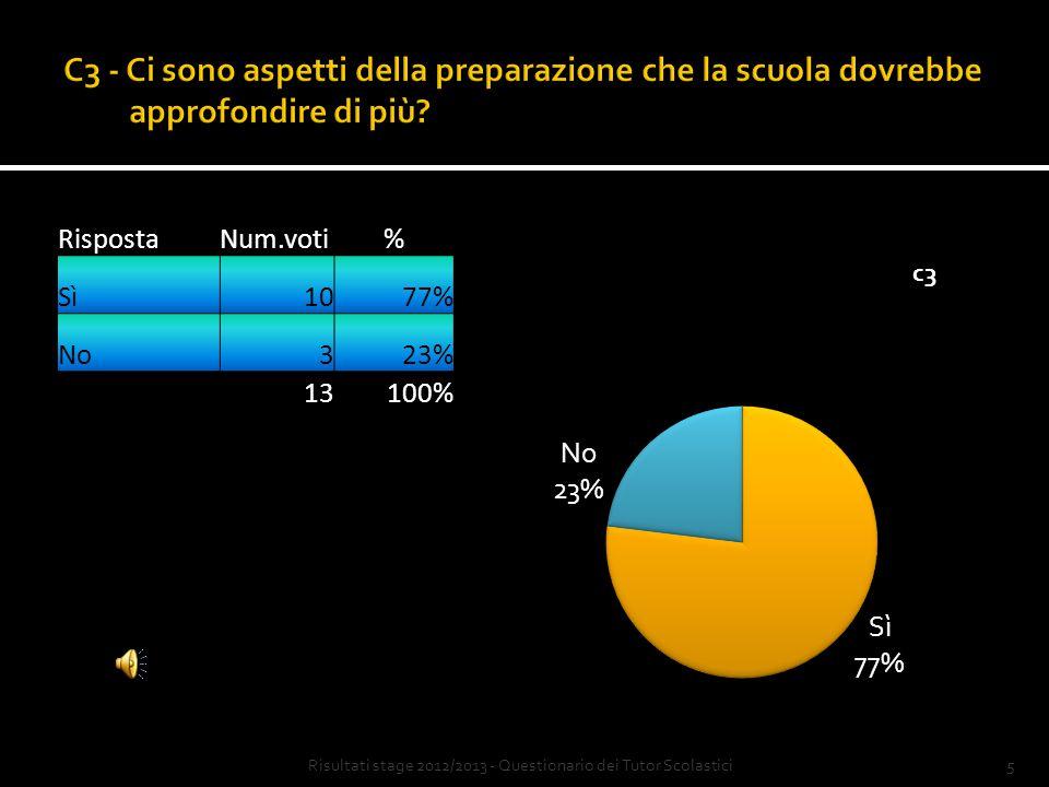 4 RispostaNum.voti% Sì215% No1185% 13100% Risultati stage 2012/2013 - Questionario dei Tutor Scolastici