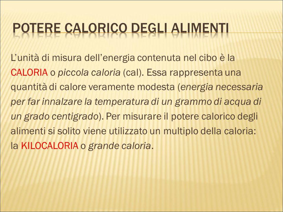 L'unità di misura dell'energia contenuta nel cibo è la CALORIA o piccola caloria (cal). Essa rappresenta una quantità di calore veramente modesta (ene