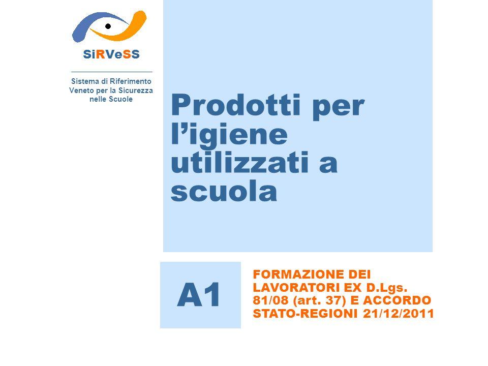Prodotti per l'igiene utilizzati a scuola SiRVeSS Sistema di Riferimento Veneto per la Sicurezza nelle Scuole A1 FORMAZIONE DEI LAVORATORI EX D.Lgs.