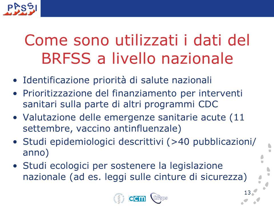 13 Come sono utilizzati i dati del BRFSS a livello nazionale Identificazione priorità di salute nazionali Prioritizzazione del finanziamento per inter
