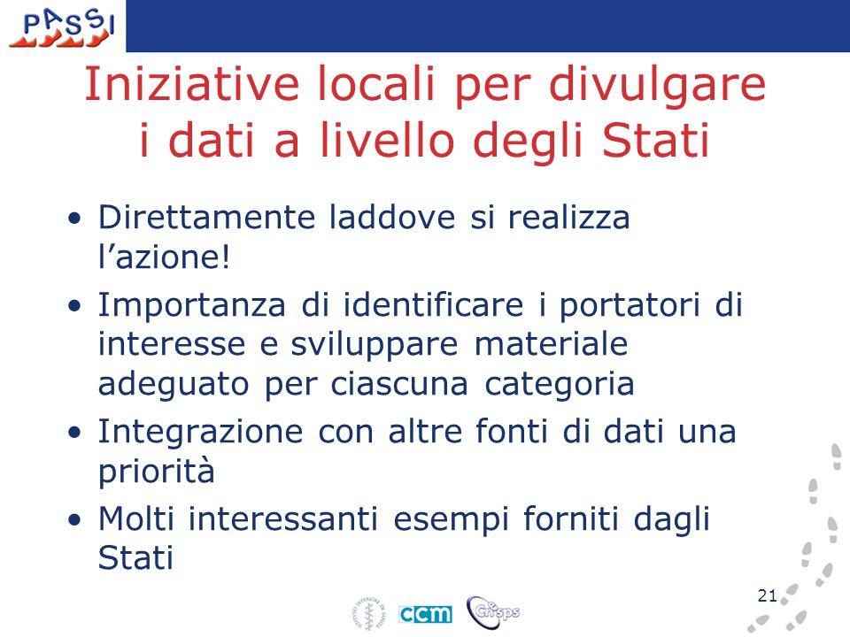 21 Iniziative locali per divulgare i dati a livello degli Stati Direttamente laddove si realizza l'azione! Importanza di identificare i portatori di i