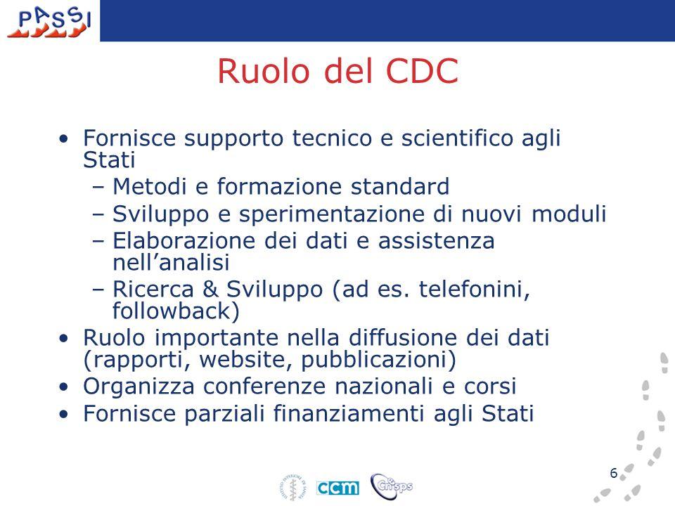 6 Ruolo del CDC Fornisce supporto tecnico e scientifico agli Stati –Metodi e formazione standard –Sviluppo e sperimentazione di nuovi moduli –Elaborazione dei dati e assistenza nell'analisi –Ricerca & Sviluppo (ad es.