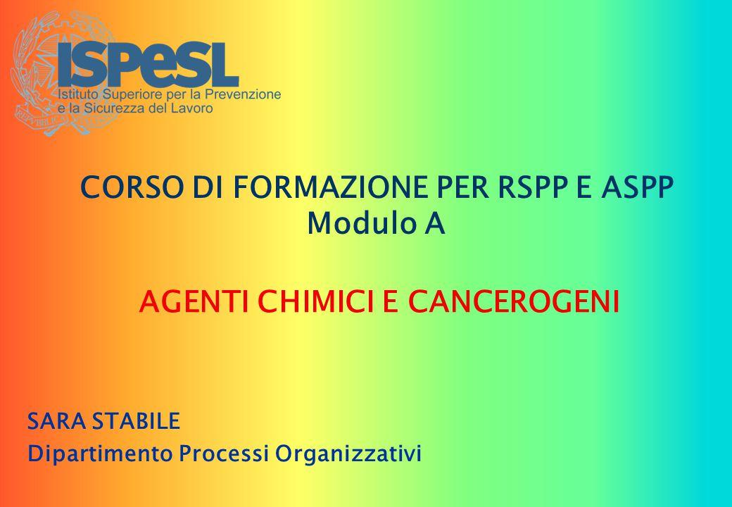 CORSO DI FORMAZIONE PER RSPP E ASPP Modulo A SARA STABILE Dipartimento Processi Organizzativi AGENTI CHIMICI E CANCEROGENI