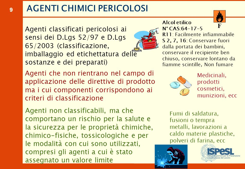 9 Agenti classificati pericolosi ai sensi dei D.Lgs 52/97 e D.Lgs 65/2003 (classificazione, imballaggio ed etichettatura delle sostanze e dei preparat