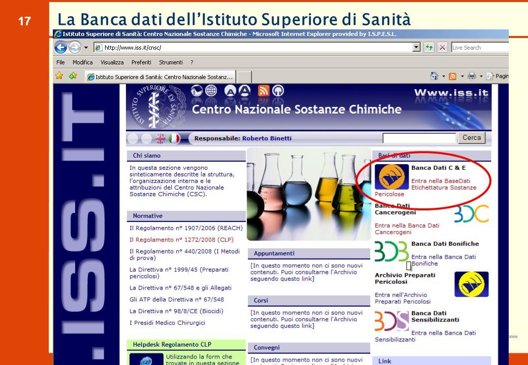 17 La Banca dati dell'Istituto Superiore di Sanità