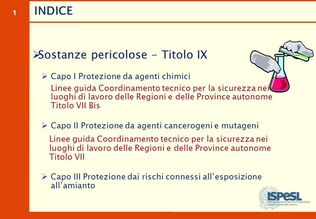 1 INDICE  Sostanze pericolose - Titolo IX  Capo I Protezione da agenti chimici Linee guida Coordinamento tecnico per la sicurezza nei luoghi di lavo
