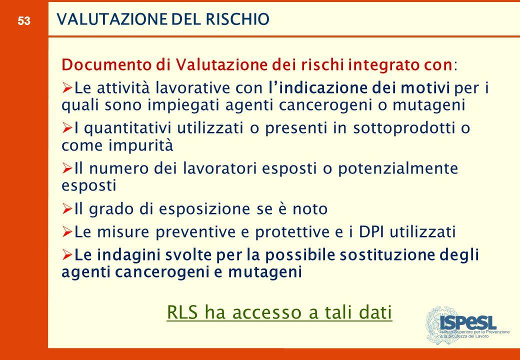 53 Documento di Valutazione dei rischi integrato con:  Le attività lavorative con l'indicazione dei motivi per i quali sono impiegati agenti cancerog