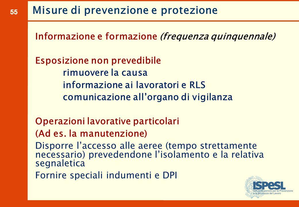 55 Informazione e formazione (frequenza quinquennale) Esposizione non prevedibile rimuovere la causa informazione ai lavoratori e RLS comunicazione al