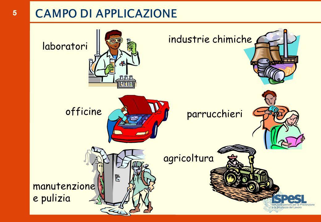 5 officine parrucchieri agricoltura manutenzione e pulizia industrie chimiche laboratori CAMPO DI APPLICAZIONE