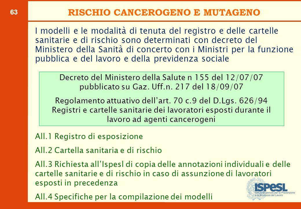 63 I modelli e le modalità di tenuta del registro e delle cartelle sanitarie e di rischio sono determinati con decreto del Ministero della Sanità di c