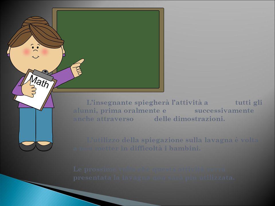 L'insegnante spiegherà l'attività a tutti gli alunni, prima oralmente e successivamente anche attraverso delle dimostrazioni. L'utilizzo della spiegaz