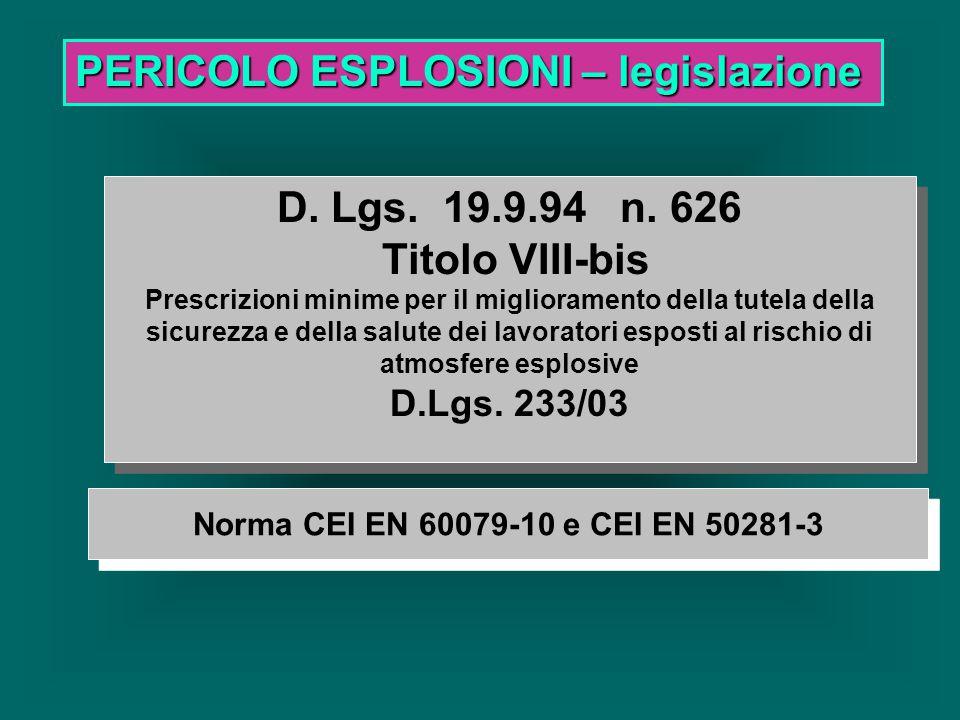 PERICOLO ESPLOSIONI – valutazione Si esplicita che l'esplosione è un pericolo che non si innesca solo dagli impianti elettrici, ma anche, da superfici calde, fiamme, scintille di origine meccanica, mozziconi di sigaretta.