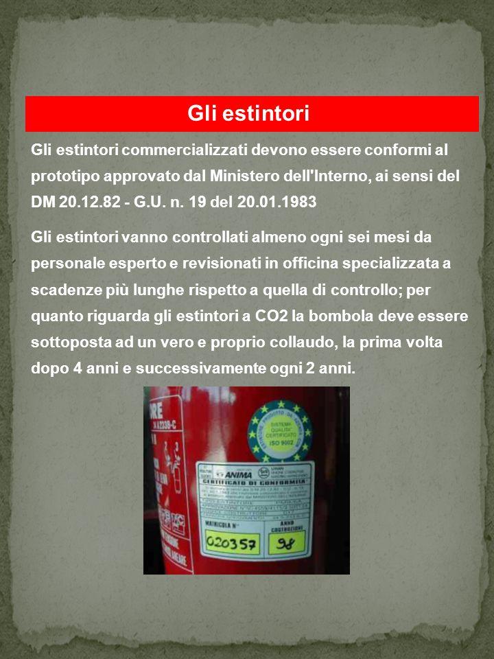 Gli estintori Gli estintori commercializzati devono essere conformi al prototipo approvato dal Ministero dell Interno, ai sensi del DM 20.12.82 - G.U.