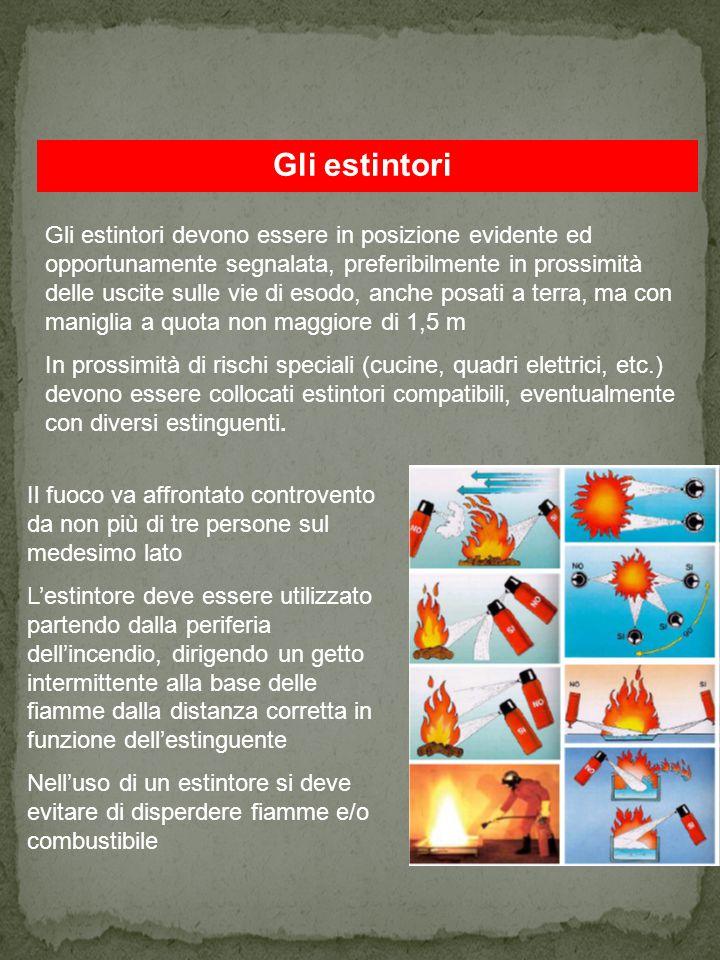 Gli estintori La scelta degli estintori portatili e carrellati deve essere determinata in funzione della classe di incendio e del livello di rischio del luogo di lavoro.
