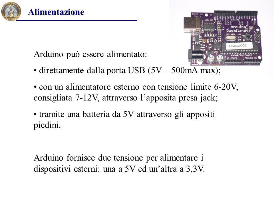 Arduino può essere alimentato: direttamente dalla porta USB (5V – 500mA max); con un alimentatore esterno con tensione limite 6-20V, consigliata 7-12V