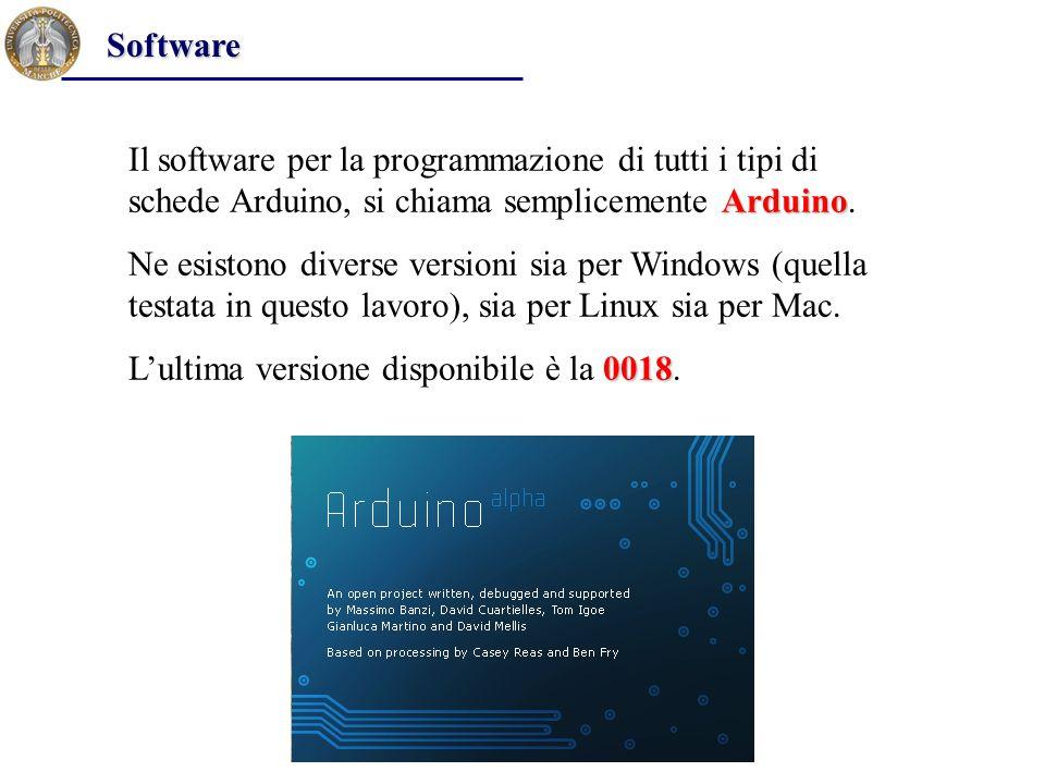 Arduino Il software per la programmazione di tutti i tipi di schede Arduino, si chiama semplicemente Arduino. Ne esistono diverse versioni sia per Win