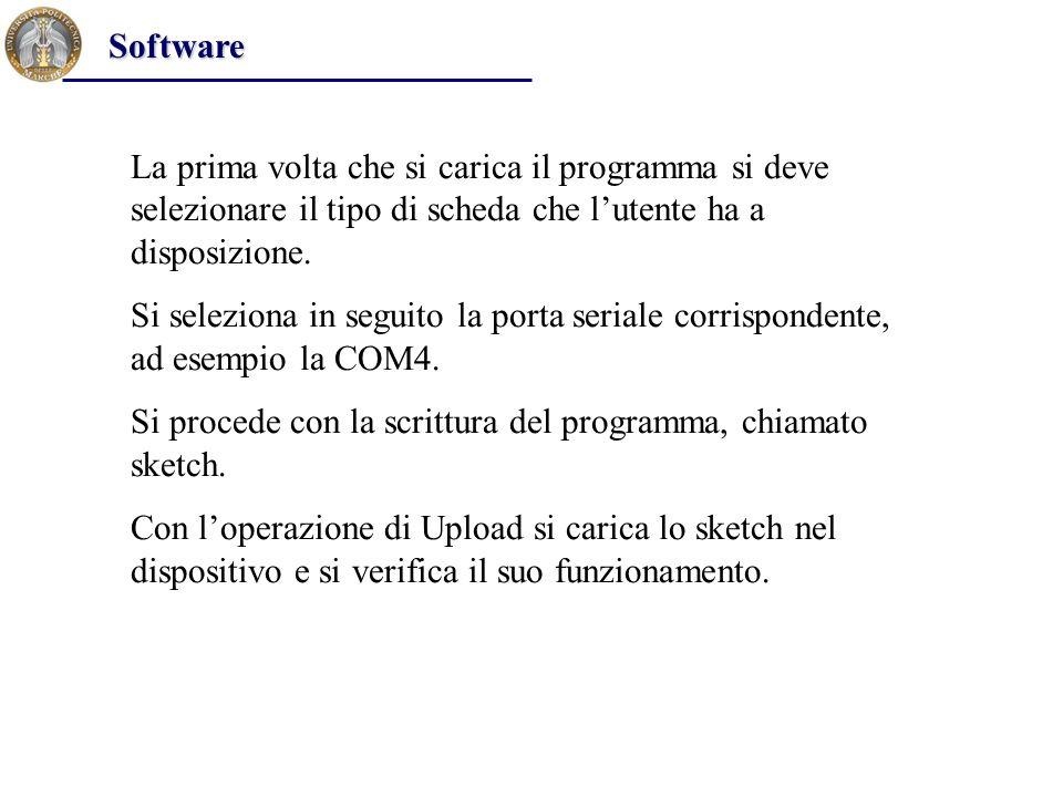 La prima volta che si carica il programma si deve selezionare il tipo di scheda che l'utente ha a disposizione. Si seleziona in seguito la porta seria