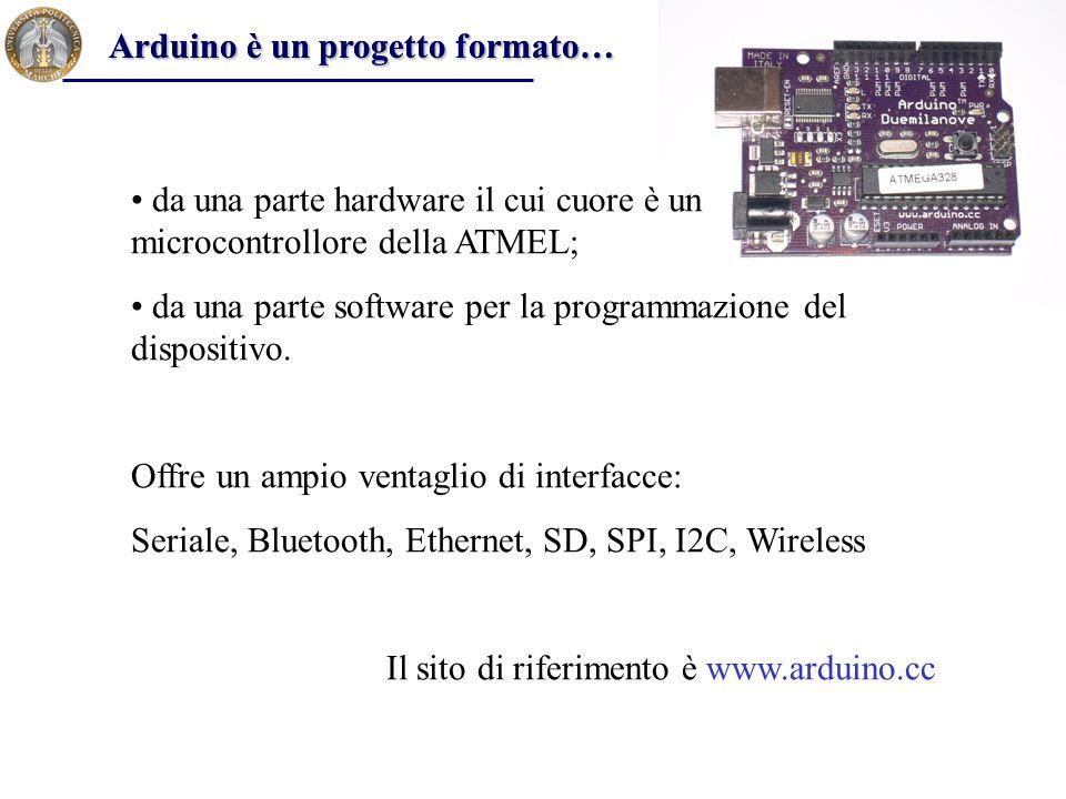 bootloader Il microcontrollore è fornito con un bootloader, che è un software che permette il caricamento dei programmi in memoria senza l'ausilio di programmatori esterni (occupa 2 KB di memoria flash).