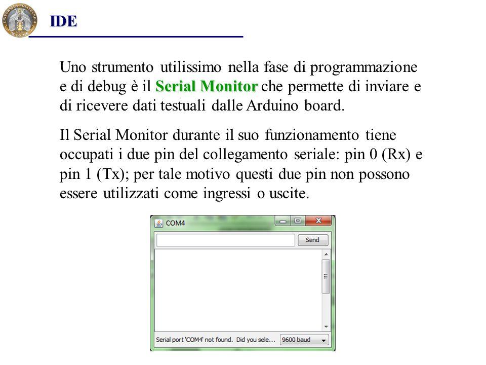 Serial Monitor Uno strumento utilissimo nella fase di programmazione e di debug è il Serial Monitor che permette di inviare e di ricevere dati testual