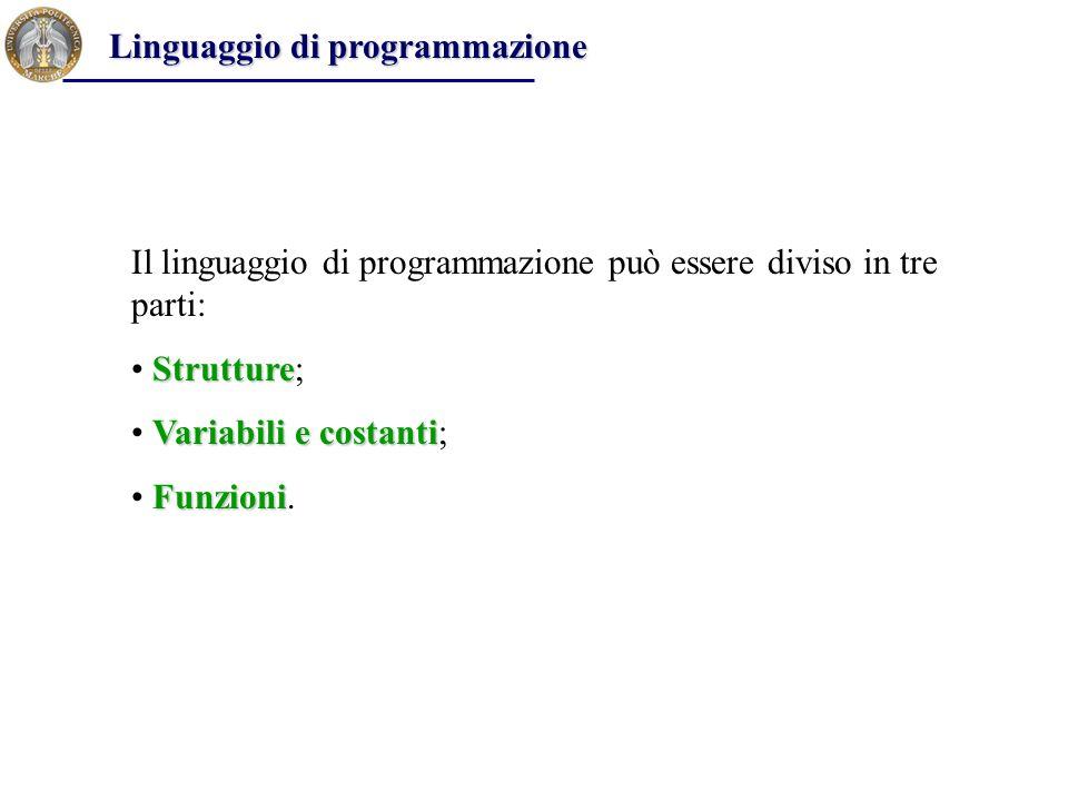 Il linguaggio di programmazione può essere diviso in tre parti: Strutture Strutture; Variabili e costanti Variabili e costanti; Funzioni Funzioni. Lin
