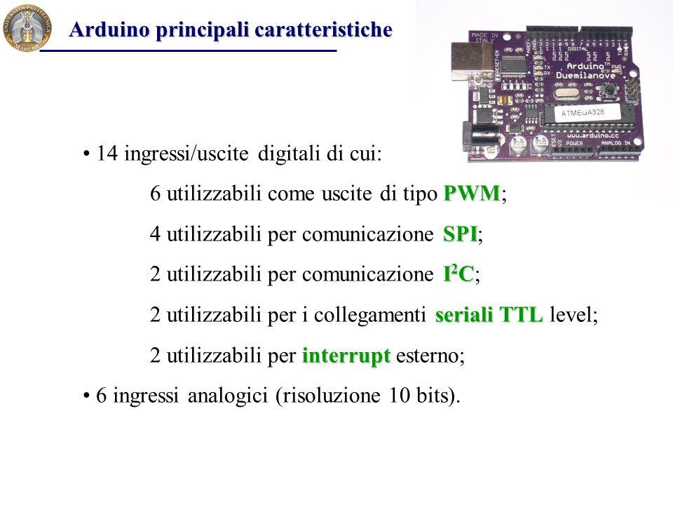 14 ingressi/uscite digitali di cui: PWM 6 utilizzabili come uscite di tipo PWM; SPI 4 utilizzabili per comunicazione SPI; I 2 C 2 utilizzabili per com