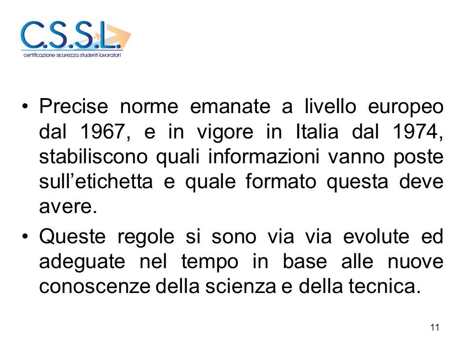 11 Precise norme emanate a livello europeo dal 1967, e in vigore in Italia dal 1974, stabiliscono quali informazioni vanno poste sull'etichetta e qual