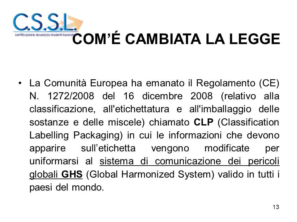 13 La Comunità Europea ha emanato il Regolamento (CE) N. 1272/2008 del 16 dicembre 2008 (relativo alla classificazione, all'etichettatura e all'imball