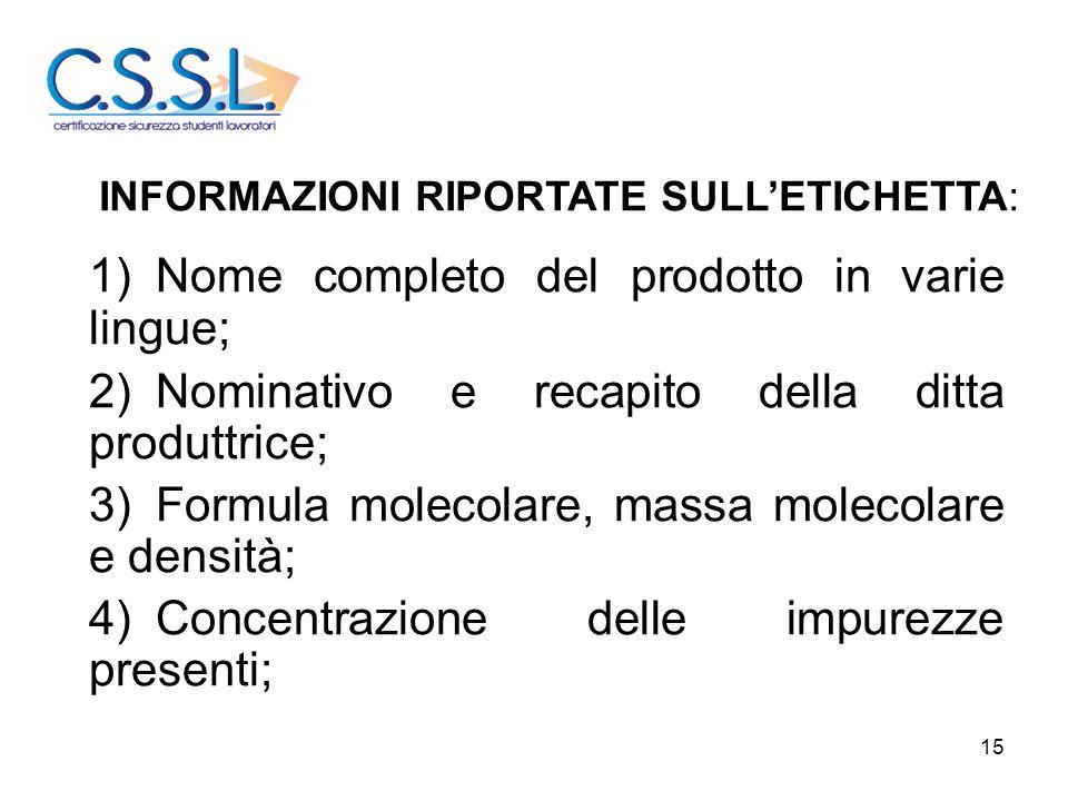15 1)Nome completo del prodotto in varie lingue; 2)Nominativo e recapito della ditta produttrice; 3)Formula molecolare, massa molecolare e densità; 4)