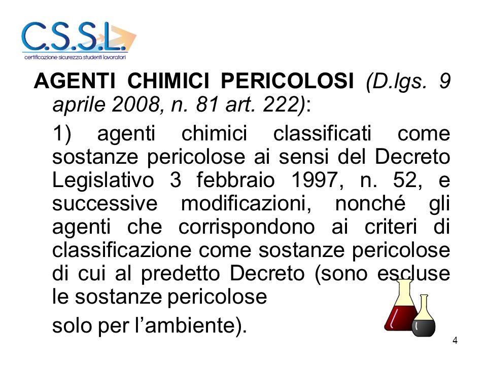 4 AGENTI CHIMICI PERICOLOSI (D.lgs. 9 aprile 2008, n. 81 art. 222): 1) agenti chimici classificati come sostanze pericolose ai sensi del Decreto Legis