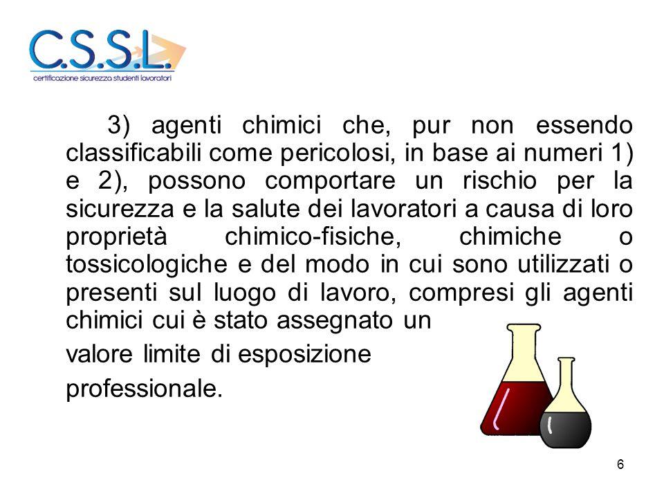 6 3) agenti chimici che, pur non essendo classificabili come pericolosi, in base ai numeri 1) e 2), possono comportare un rischio per la sicurezza e l