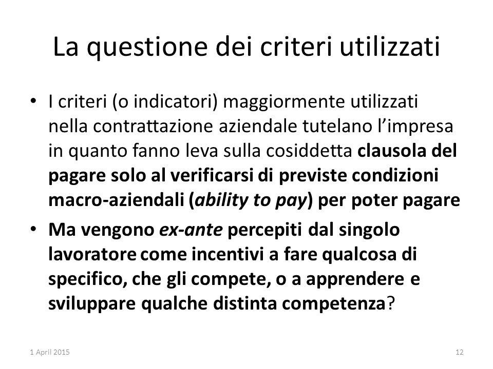 La questione dei criteri utilizzati I criteri (o indicatori) maggiormente utilizzati nella contrattazione aziendale tutelano l'impresa in quanto fanno