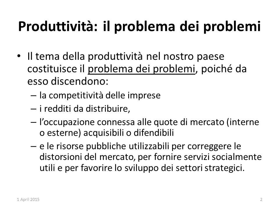 Produttività: il problema dei problemi Il tema della produttività nel nostro paese costituisce il problema dei problemi, poiché da esso discendono: –