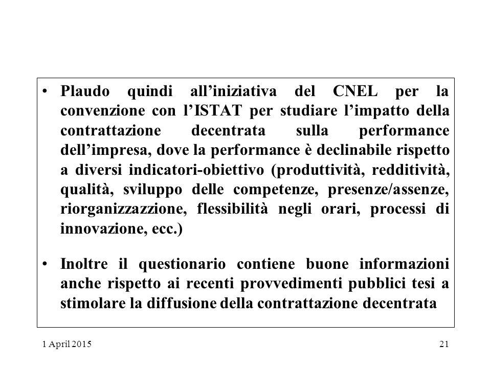 Plaudo quindi all'iniziativa del CNEL per la convenzione con l'ISTAT per studiare l'impatto della contrattazione decentrata sulla performance dell'imp