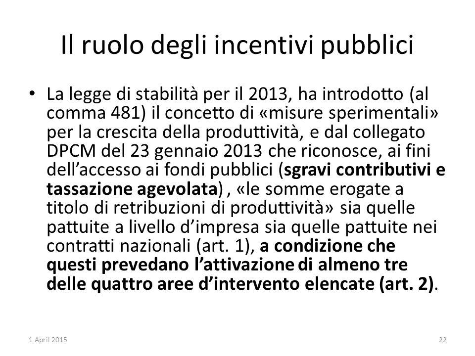 Il ruolo degli incentivi pubblici La legge di stabilità per il 2013, ha introdotto (al comma 481) il concetto di «misure sperimentali» per la crescita della produttività, e dal collegato DPCM del 23 gennaio 2013 che riconosce, ai fini dell'accesso ai fondi pubblici (sgravi contributivi e tassazione agevolata), «le somme erogate a titolo di retribuzioni di produttività» sia quelle pattuite a livello d'impresa sia quelle pattuite nei contratti nazionali (art.