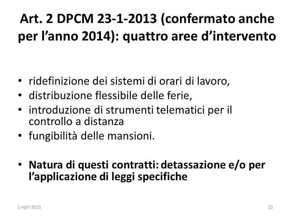 Art. 2 DPCM 23-1-2013 (confermato anche per l'anno 2014): quattro aree d'intervento ridefinizione dei sistemi di orari di lavoro, distribuzione flessi