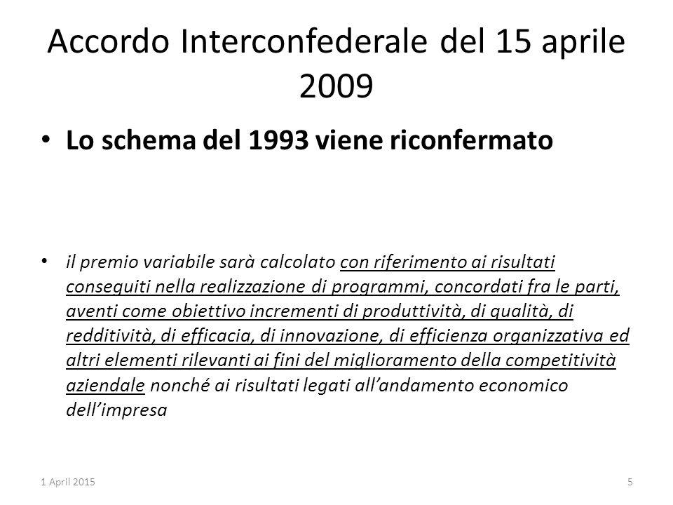 Accordo Interconfederale del 15 aprile 2009 Lo schema del 1993 viene riconfermato il premio variabile sarà calcolato con riferimento ai risultati cons