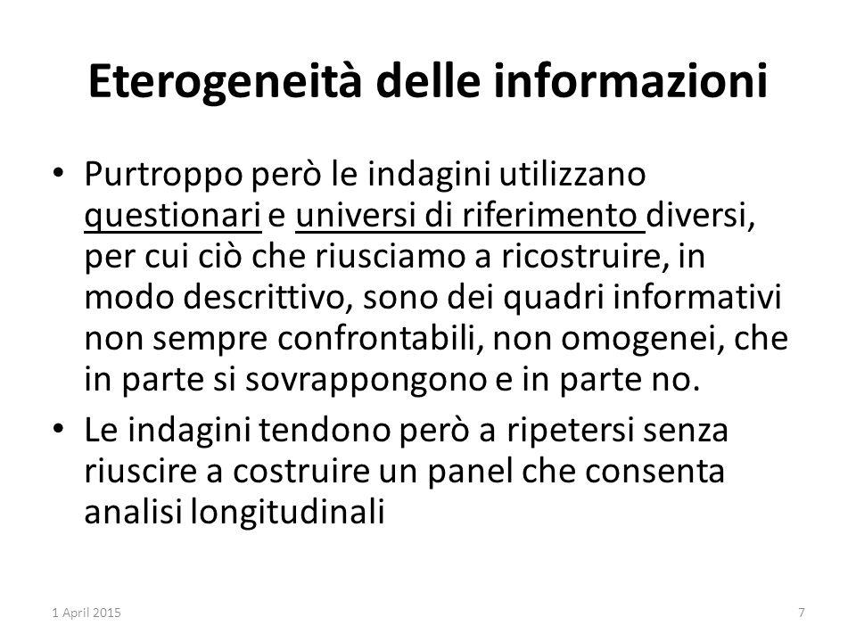 Eterogeneità delle informazioni Purtroppo però le indagini utilizzano questionari e universi di riferimento diversi, per cui ciò che riusciamo a ricos