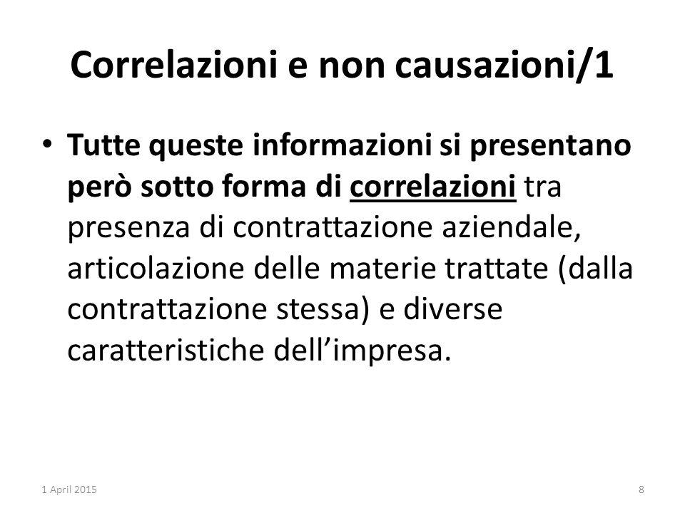 Correlazioni e non causazioni/1 Tutte queste informazioni si presentano però sotto forma di correlazioni tra presenza di contrattazione aziendale, articolazione delle materie trattate (dalla contrattazione stessa) e diverse caratteristiche dell'impresa.