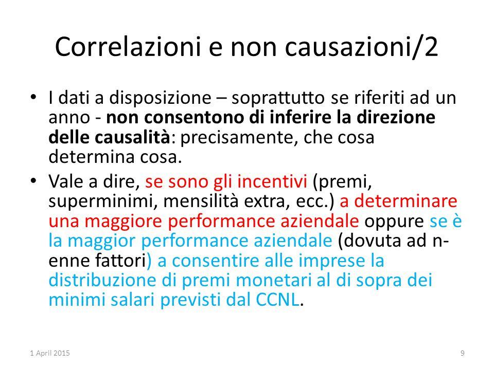 Correlazioni e non causazioni/2 I dati a disposizione – soprattutto se riferiti ad un anno - non consentono di inferire la direzione delle causalità: precisamente, che cosa determina cosa.