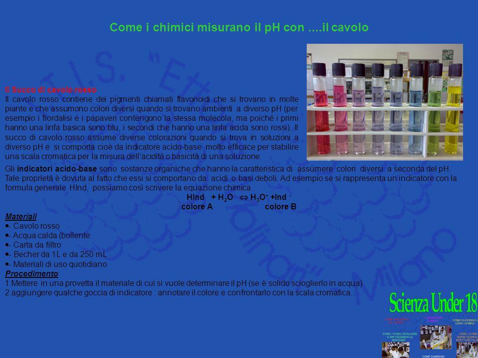Gli indicatori acido-base sono sostanze organiche che hanno la caratteristica di assumere colori diversi a seconda del pH. Tale proprietà è dovuta al