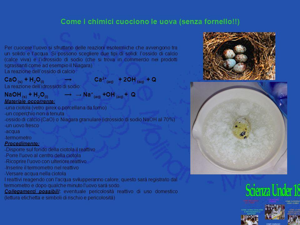 Come i chimici cuociono le uova (senza fornello!!) Per cuocere l'uovo si sfruttano delle reazioni esotermiche che avvengono tra un solido e l'acqua. S
