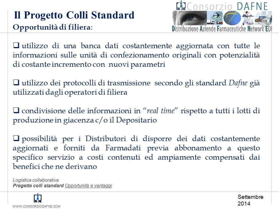 WWW.CONSORZIODAFNE.COM Il Progetto Colli Standard Opportunità di filiera :  utilizzo di una banca dati costantemente aggiornata con tutte le informaz