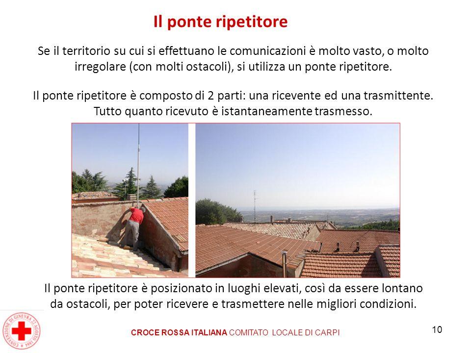 10 Il ponte ripetitore CROCE ROSSA ITALIANA COMITATO LOCALE DI CARPI Se il territorio su cui si effettuano le comunicazioni è molto vasto, o molto irr