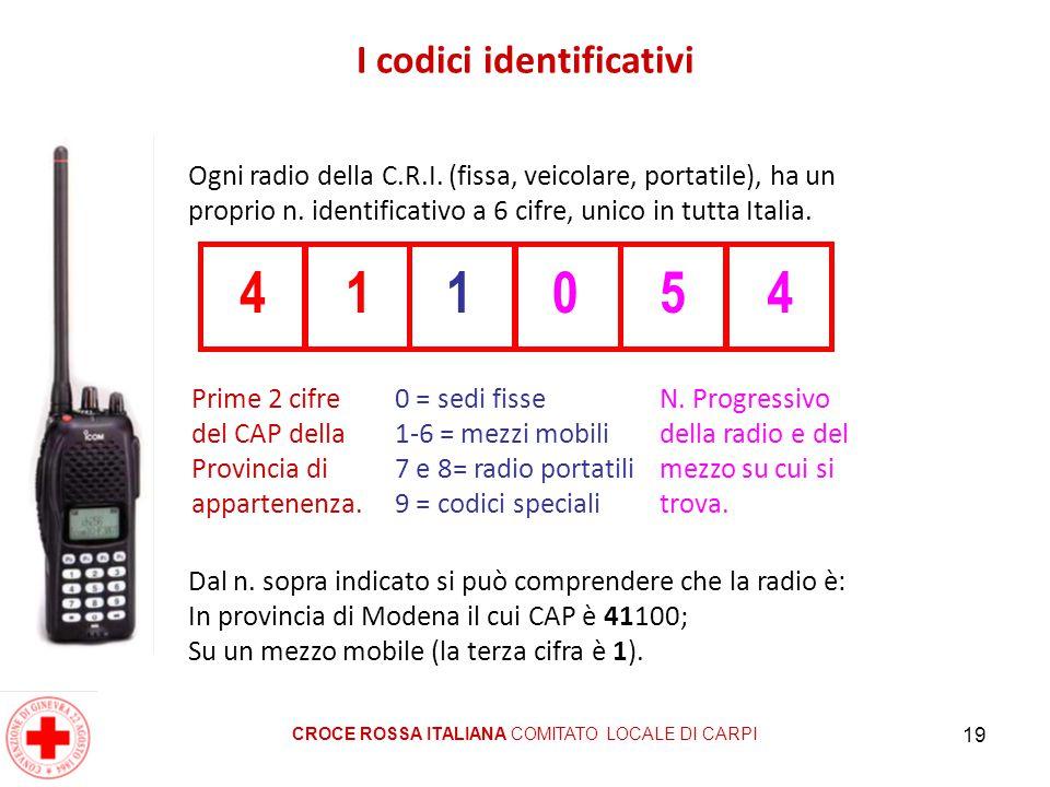 19 I codici identificativi CROCE ROSSA ITALIANA COMITATO LOCALE DI CARPI Ogni radio della C.R.I. (fissa, veicolare, portatile), ha un proprio n. ident