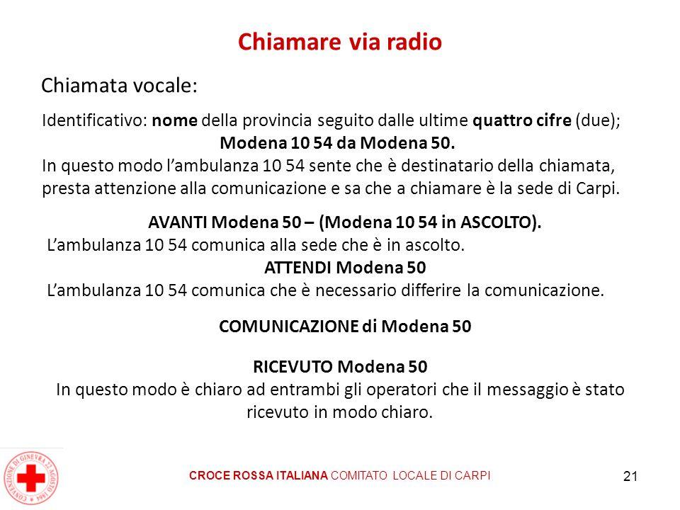 21 Chiamare via radio Chiamata vocale: CROCE ROSSA ITALIANA COMITATO LOCALE DI CARPI Identificativo: nome della provincia seguito dalle ultime quattro