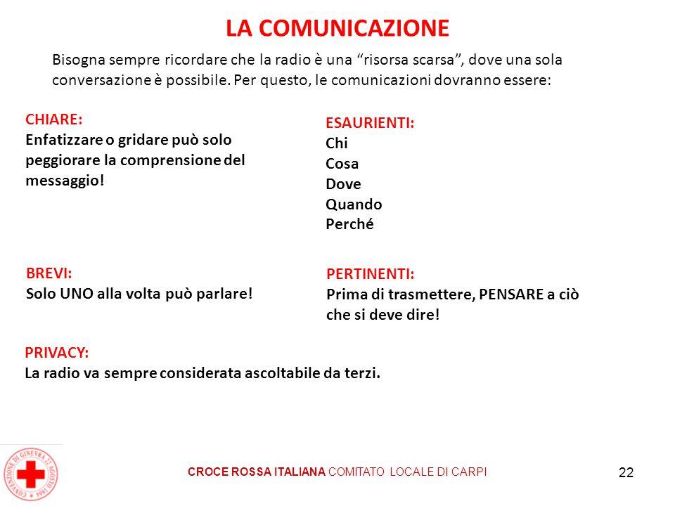 22 LA COMUNICAZIONE CROCE ROSSA ITALIANA COMITATO LOCALE DI CARPI CHIARE: Enfatizzare o gridare può solo peggiorare la comprensione del messaggio! Bis