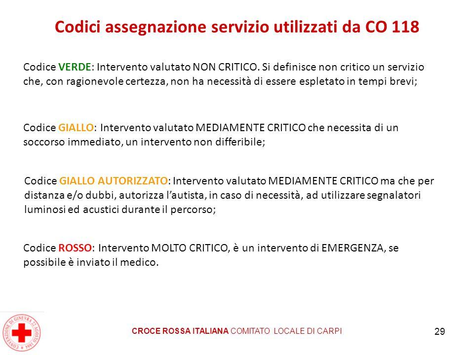 29 Codici assegnazione servizio utilizzati da CO 118 Codice VERDE: Intervento valutato NON CRITICO. Si definisce non critico un servizio che, con ragi